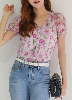 See-through Floral Lace Jewel Button Blouse, Styleonme