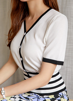 Black & White Stripe Detail V-Neck Knit Top, Styleonme