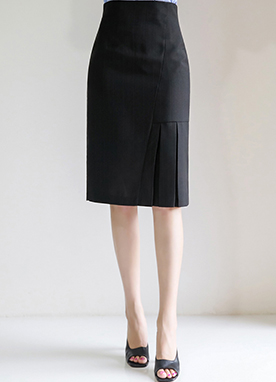 Pleated Detail H-Line Skirt, Styleonme