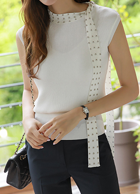 Studded Tie Neck Ribbed Knit Top, Styleonme