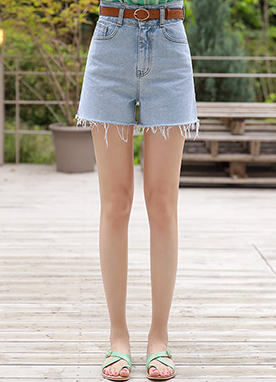 High-Waisted Cut Hem Denim Shorts, Styleonme
