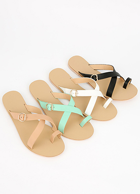 Toe Ring Cross Strap Flat Sandals, Styleonme