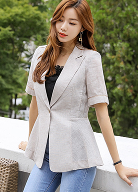 Slim Fit One Button Linen Jacket, Styleonme