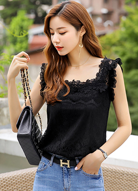 Square Neck Lace Blouse, Styleonme