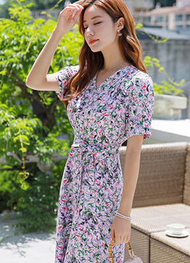 Light Purple Floral Print Flared Dress, Styleonme