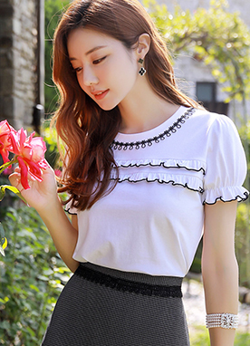 Mini Frill Detail Puff Sleeve T-Shirt, Styleonme
