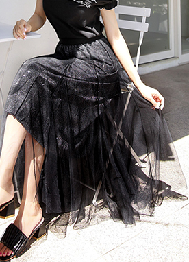 See-through Mesh Lace Long Flared Skirt, Styleonme