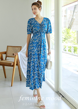 Small Floral Print Shirred Long Flared Dress, Styleonme
