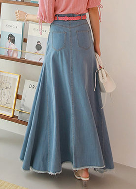 Lace-Up Flared Long Denim Skirt, Styleonme