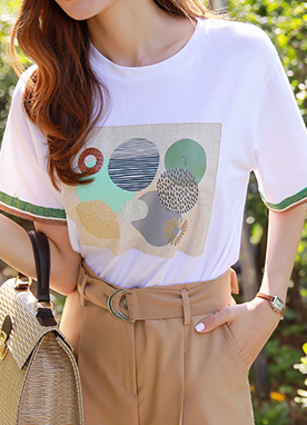 Circle Collage Print T-Shirt, Styleonme