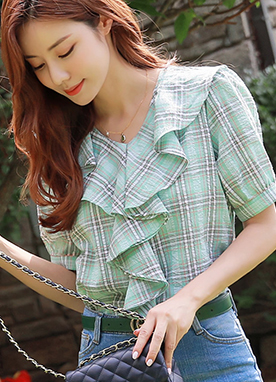 Soft Check Pattern Ruffle Blouse, Styleonme