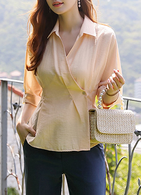 Wrap Sheer Pintuck Collared Blouse, Styleonme