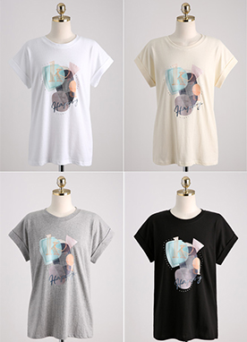 Collage Print Roll-Up Sleeve T-Shirt, Styleonme
