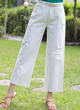 Ripped White Straight Leg Pants, Styleonme