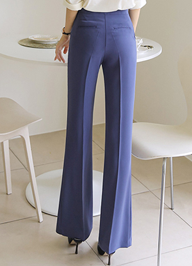 Dressy Semi-Wide Boot-Cut Slacks, Styleonme