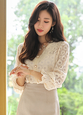 See-through Floral Lace V-Neck Blouse, Styleonme