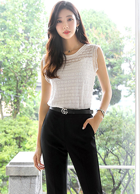 Floral Lace Sleeveless Top, Styleonme