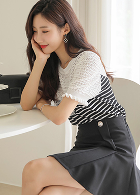 Stripe Bustier Puff Sleeve Knit Top, Styleonme