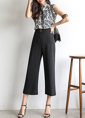 Circle Ring Front Zipper Wide Leg Pants, Styleonme