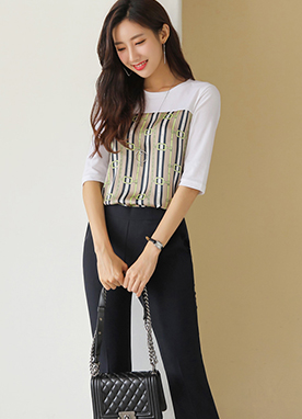 Luxury Belt & Chain Print T-Shirt, Styleonme
