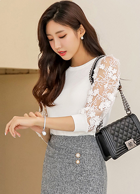 See-through Floral Lace Puff Sleeve Knit Top, Styleonme