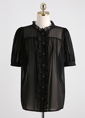 See-through Glittery Frill Blouse, Styleonme