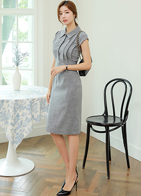 Collared Button Pintuck Dress, Styleonme