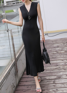 Sleeveless V-Neck Slim Long Dress, Styleonme