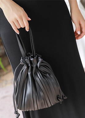 Simple Drawstring Pleated Bag, Styleonme