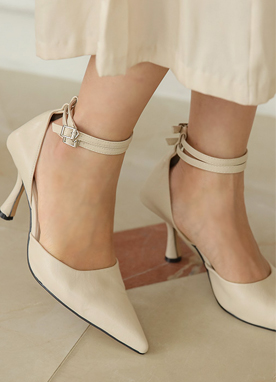 Double Ankle Strap Pointed Heels, Styleonme