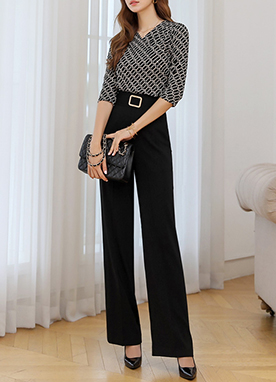 Gold Squared Buckle Wide Leg Slacks, Styleonme