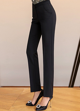 Simple Slim Straight Leg Slacks, Styleonme