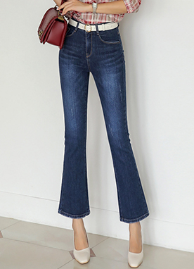 Deep Blue Wash Slim Boot-Cut Jeans, Styleonme
