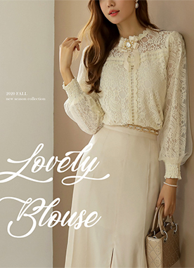 Soft Layered Floral Lace Blouse, Styleonme