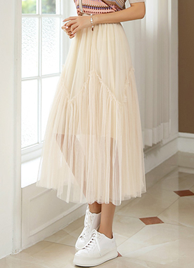 Long Shirred Tulle Lace Skirt, Styleonme