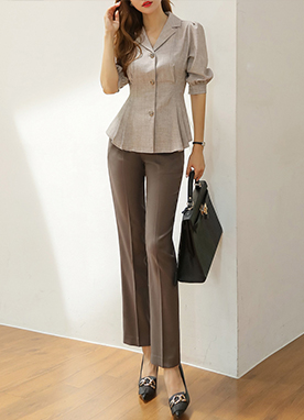 Slim Pintuck Collared Blouse, Styleonme