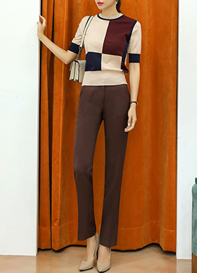 Autumn Color Slim Straight Leg Slacks, Styleonme