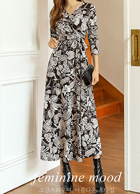 Tropical Print Wrap Long Dress, Styleonme