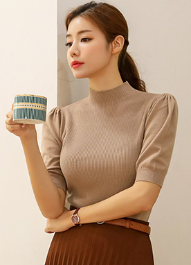 Puff Sleeve Mock Neck Knit Top, Styleonme