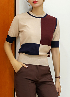 Soft Color Block Knit Top, Styleonme