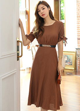 Ribbon Sleeve Long Flared Dress, Styleonme