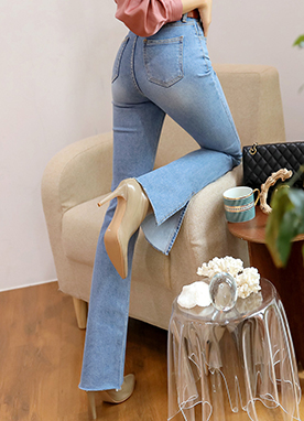 Side Slit Straight Leg Jeans, Styleonme