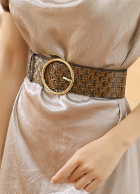 Circle Buckle Wide Braided Belt, Styleonme