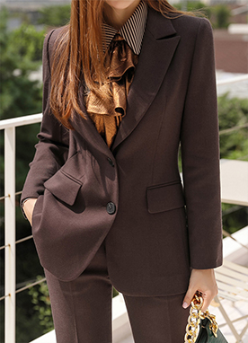 High End Collection Two Button Tailored Jacket, Styleonme