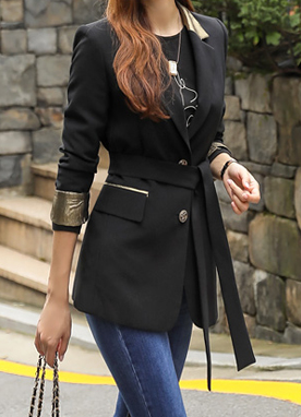 Gold Detail Belt Strap Tailored Jacket, Styleonme