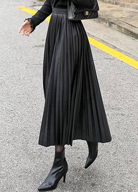 Innovative Leather Pleated Long Skirt, Styleonme