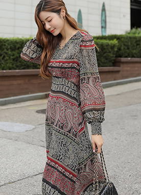 Ethnic Paisley Print Midi Flared Dress, Styleonme