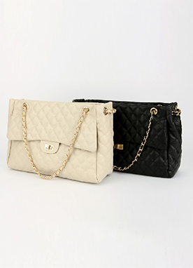 Quilted Chain Squared Bag, Styleonme