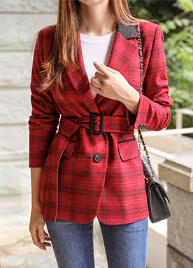 Glen Check Print Belted Double-Breasted Jacket, Styleonme