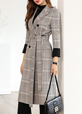Basic Check Print Long Jacket, Styleonme